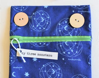 Space Monster Pouch with Green Zipper Lips