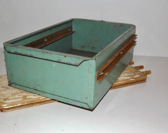 "Heavy duty industrial storage Large green metal cabinet drawer,green metal storage box,19""x12""x6"",industrial decor,planter,man cave,shed"