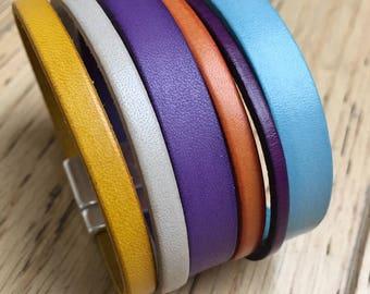 Ristmik collection Rainbow - made unique custom genuine leather Cuff Bracelet