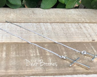 Threader Earrings, Sterling Silver Earrings, Cross, Sterling Silver Threader Earrings, Chain Earrings, Boho Chic Earrings