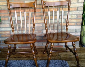2 Ethan Allen Heirloom Maple Arrow Back Side Chairs 10-6060