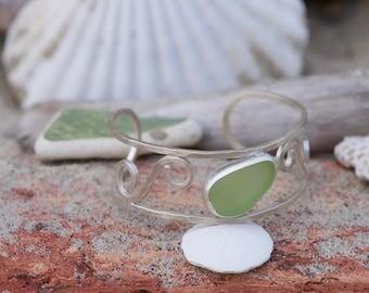 sterling silver sea glass cuff bracelet (UV)