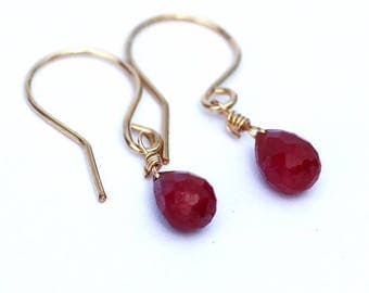 July Birthstone, Natural Ruby Earrings, Natural Ruby Jewelry