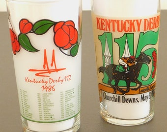 Vintage Kentucky Derby Souvenir Glass, Churchill Downs, Mint Julep, Cocktail, Louisville, 1986, 1989, Run for the Roses, Bluegrass State