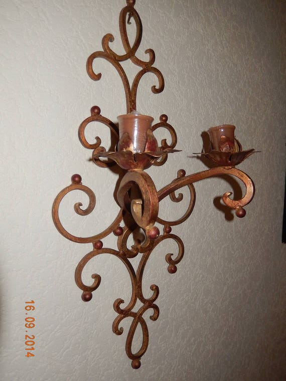 applique murale double pour bougies en fer forg peint et. Black Bedroom Furniture Sets. Home Design Ideas