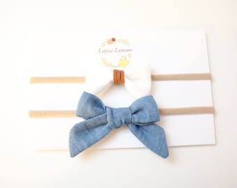Tory Bow Duo/ baby headbands/ toddler bows/ newborn headbands/ nylon headbands/ cute baby bows/ summer baby bows/ lace baby bows
