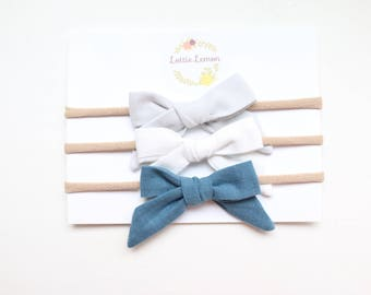 Kambrie bow trio/ baby bows/ baby bow sets/ baby headbands/ fall baby bows/ chambray baby bows