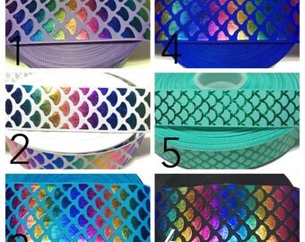Be a mermaid ribbon, mermaid scale ribbon, Fish scale ribbon, Mermaid scale grosgrain ribbon by the yard