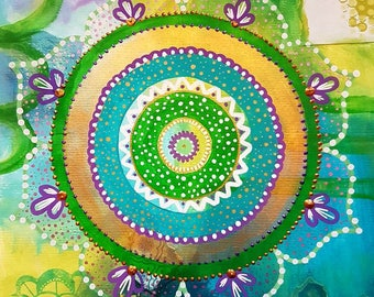 Green mandala painting. Mandala artwork. Green. Mixed media painting. Artwork. Bohemian. Emerald. Gold. Yoga art. Spiritual art.