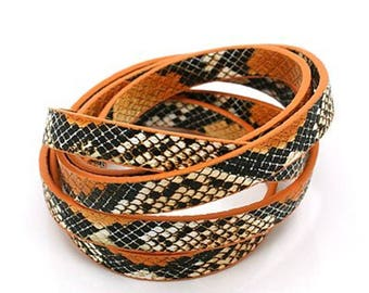 Orange faux snake skin leather strap 10mm flat leather cord 20cm