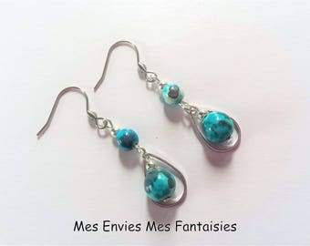 Boheme Bleu Jade and grey drop Silver earrings