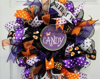Halloween Wreath-Mini, Halloween Door Decor-Mini, Halloween Door Hanger-Mini, Candy Corn Wreath-Mini