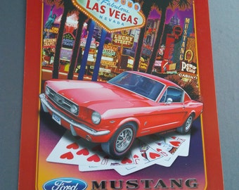 Ford Mustang/Las Vegas Reproduction Tin Advertising Sign by Kool Collectibles