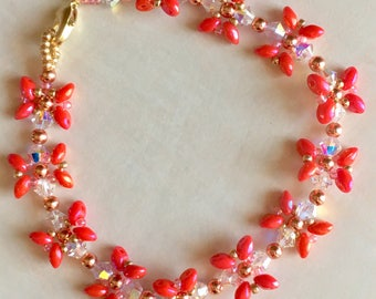 """Coral and copper butterfly bracelet 7.5"""""""