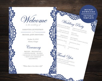Navy Wedding Program, Elegant navy wedding program,  Printable Program, Instant download, Editable template,  #GD_WP128