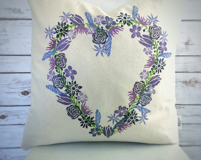 Organic canvas heart wreath pillow cover  - purples