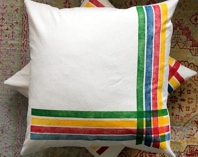 Handprinted Eurosham covers - organic canvas with stripes inspired by iconic Hudson's Bay Co. colours!
