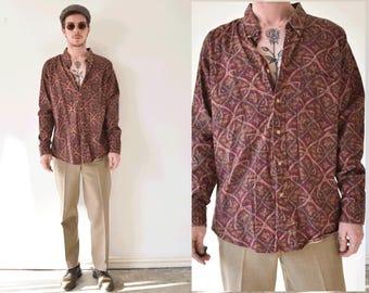 Vintage Paisley Mens Long Sleeve Button Up Shirt