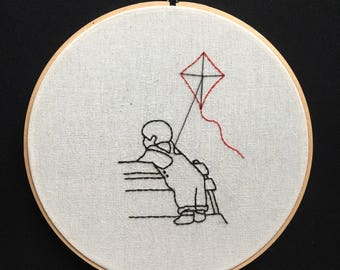 Gage and his kite (Pet Sematary Book by Stephen King): Illustration Embroidery Art