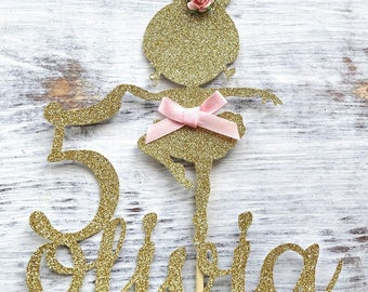 Personalised Ballerina Glitter Cake Topper Any Age