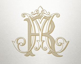 Vintage Wedding Monogram - MR RM - Wedding Monogram - Digital