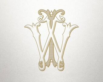 Wedding Printable Monogram - IW WI - Printable Monogram - Vintage