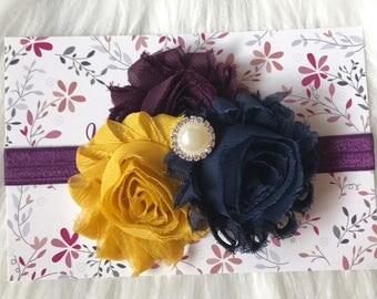 Navy and Mustard Headband, Navy Headband, Baby Girl Headband, Baby Headband, Newborn Headband, Infant Headband, Blue and Yellow, Baby Girl