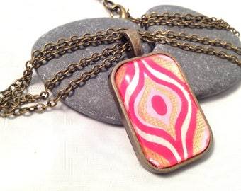 Necklace eye pink Indian - Bronze