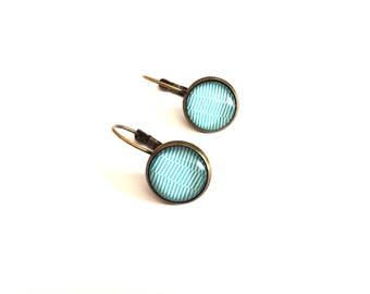 Earrings sleeper geometry blue and white - Bronze