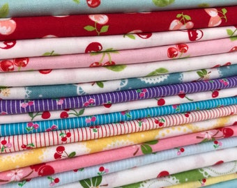 Cherry Fabric Bundle!!  Cherries, Cherries, Cherries!  18 Designer Fabrics all with Cherries on them!  18 Fat Quarter Bundle