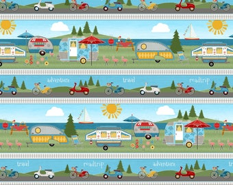 Let's Go Glamping Stripe Fabric from the Let's Go Glamping Collection by Anne Rowan for Wilmington Prints, Camping, Travel Trailer