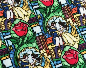 Disney Beauty and the Beast Stained Glass Cotton Fabric from Springs Creative