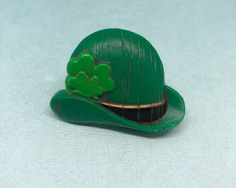 Saint Patty's Day Pin St Patrick Day Celebration Jewelry Green Hat Luck of the Irish
