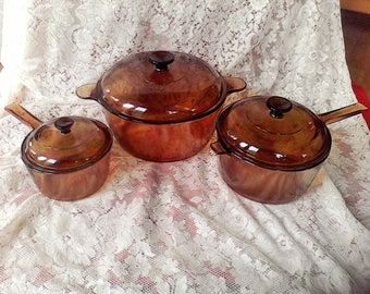 Vision Cookware Dutch Oven , 2 sauce pans made in the USA, Corning,cookware set