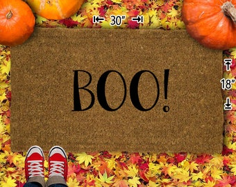 Boo! Halloween Coir Doormat - 18x30 - Welcome Mat - House Warming - Mud Room - Gift - Custom