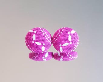 Studs, Stud Earrings, studs, button, fabric, 15mm, colorful, pretty, summer