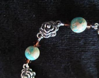 "Bracelet ""roses"" with carnelian lagoon"