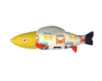 Volks. Fish. Cushion. Sardine. Design. Camping - car. Deco. Made in Quebec. Catherine Bouchard
