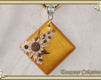 Gold Choker necklace brown flowers 112005