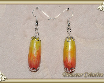Yellow red earrings mother of Pearl 104027