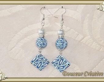 Blue Black White Pearl Earrings 104068