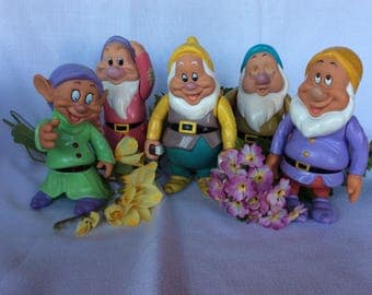Vintage Disney dwarfs rubber collectible figurines collectible characters toy