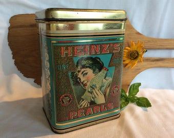 Vintage Cheinco advertising tin Pearls Heinz container kitchen cottage decor storage