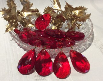 Vintage red crystal glass tear drop chandelier prism pendant or craft projects