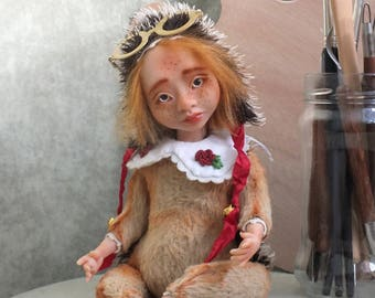 SOLD!! OOAK Art Teddy Doll, Hedgehog, collectible art doll, interior doll, totaly hand made