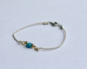 Turquoise and hemp cord bracelet