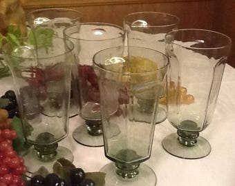 """Vintage Beautiful Lenox Fine Crystal From The Expression Line """"Green Mist"""" Six (6) Wine Glasses Set. Made In USA. Discontinued 1974-1985."""