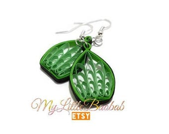 Quilling leaves Cage earrings green and black
