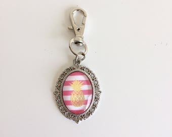 Pineapple and stripes cabochon bag charm keychain