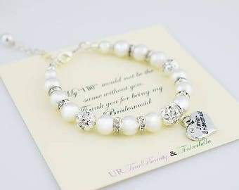 Swarovski pearl Bracelet, Will you be my Bridesmaid bracelet, Maid of Honor bracelet, sister to be bracelet, Girl Bracelets, Wedding Jewelry